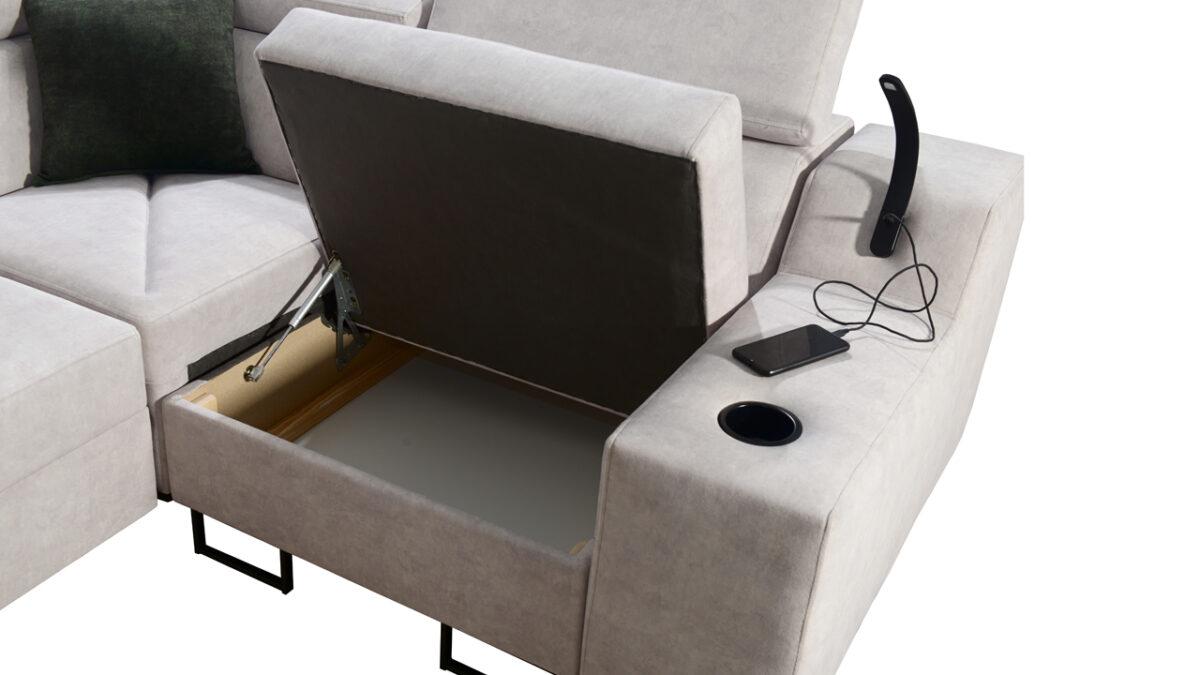 Rohová sedačka Alicanto II detail úložný prostor