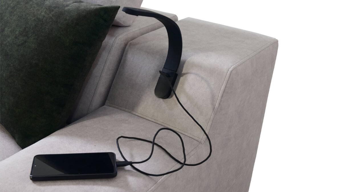 Rohová sedačka Alicanto I maxi detail lampa