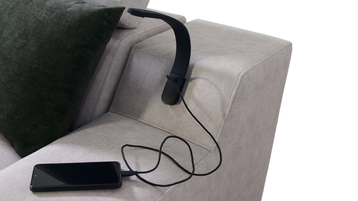 Rohová sedačka Alicanto I mini detail lampa