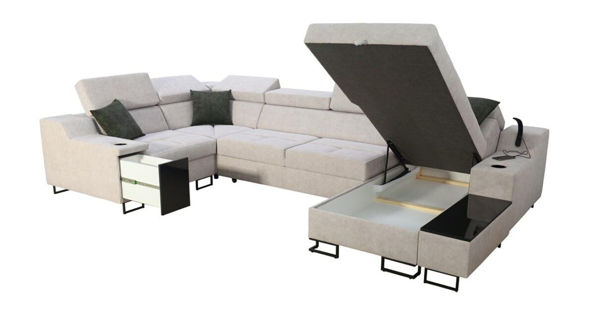 Sedačka ve tvaru U Alicanto IV maxi úložný prostor
